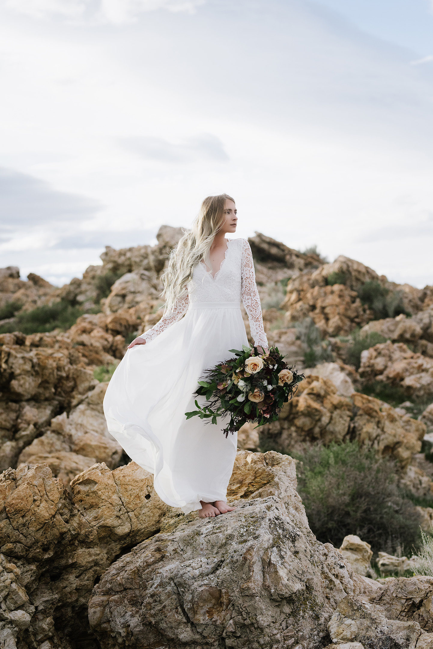 Antelope Island Bridal Photo Shoot